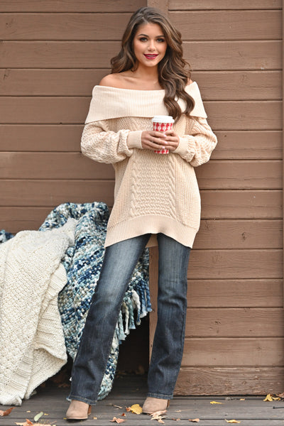 Season Of Love Sweater - Cream women's off the shoulder chunky knit top, Closet Candy Boutique 2