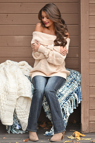 Season Of Love Sweater - Cream women's off the shoulder chunky knit top, Closet Candy Boutique 1