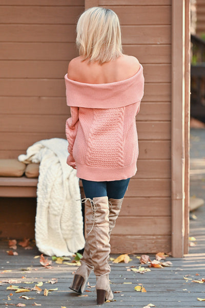 Season Of Love Sweater - Coral women's off the shoulder chunky knit top, Closet Candy Boutique 6