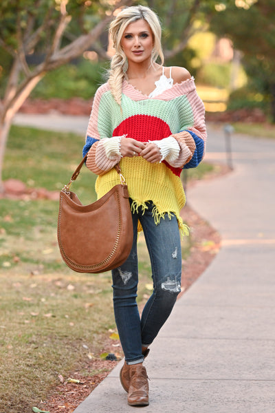 Let Loose Color Block Sweater - Multicolor frayed colorful women's sweater, Closet Candy Boutique 5