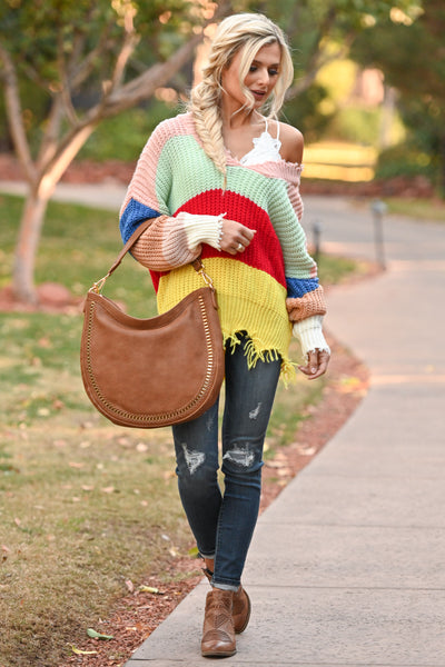 Let Loose Color Block Sweater - Multicolor frayed colorful women's sweater, Closet Candy Boutique 1
