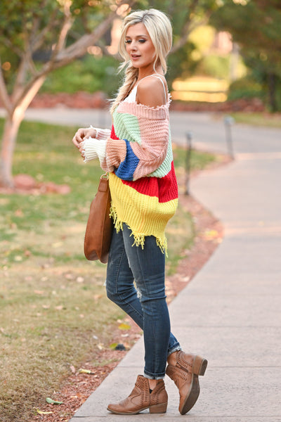 Let Loose Color Block Sweater - Multicolor frayed colorful women's sweater, Closet Candy Boutique 2