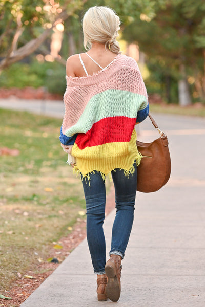 Let Loose Color Block Sweater - Multicolor frayed colorful women's sweater, Closet Candy Boutique 4