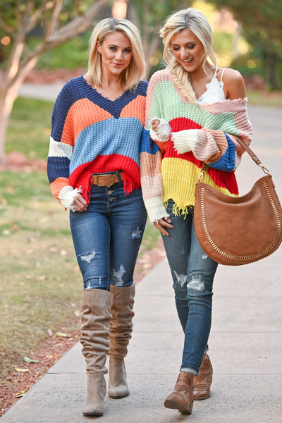 Let Loose Color Block Sweater - Multicolor frayed colorful women's sweater, Closet Candy Boutique 3