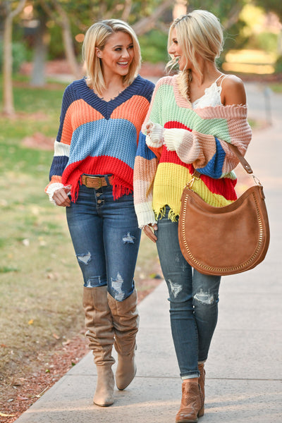 Live Boldly Color Block Sweater - Blue Multicolor frayed colorful women's sweater, Closet Candy Boutique 3