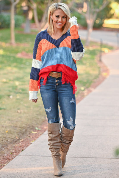 Live Boldly Color Block Sweater - Blue Multicolor frayed colorful women's sweater, Closet Candy Boutique 4