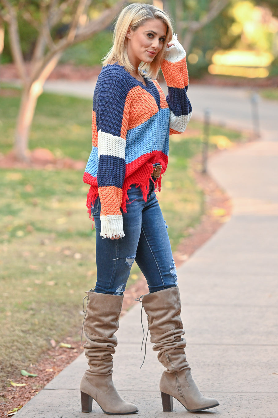 Live Boldly Color Block Sweater - Blue Multicolor frayed colorful women's sweater, Closet Candy Boutique 1