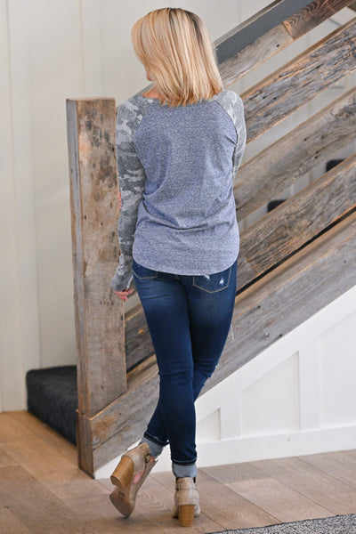 Enjoy The Ride Camo Top - Denim Blue, cute long sleeve raglan top, closet candy boutique 4