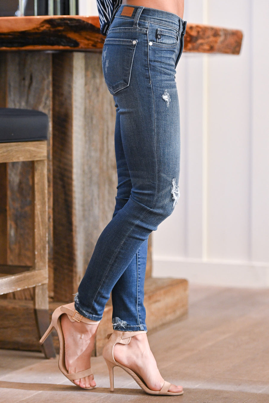 JUDY BLUE Distressed Skinny Jeans - Brooklyn Wash women's jeans, closet candy boutique 2