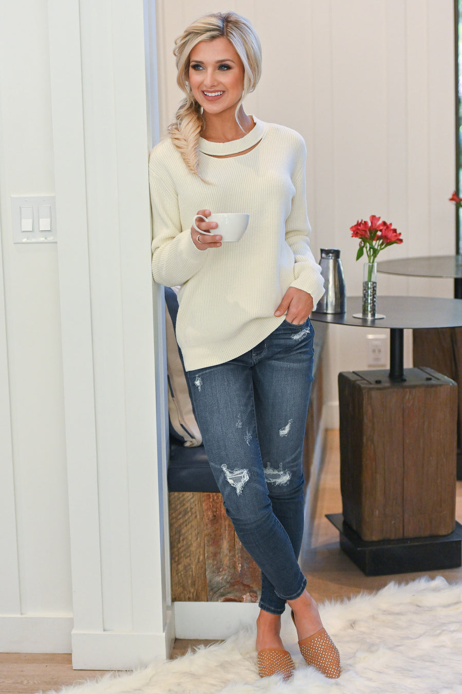 Feels Just Right Sweater - Ivory women's chunky sweater with neckline cutout, closet candy boutique 1