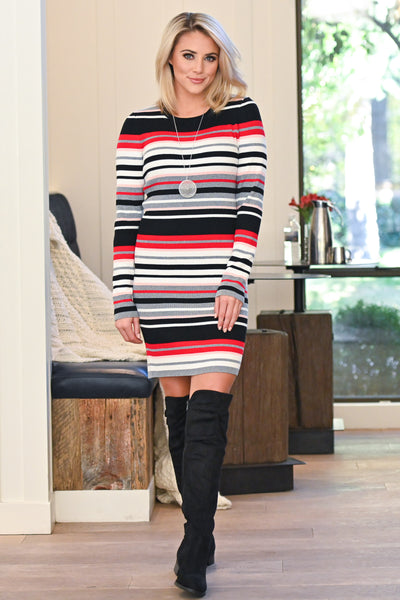 Better Than Bold Striped Dress - Multicolor women's vibrant colorful striped dress, Closet Candy Boutique 1