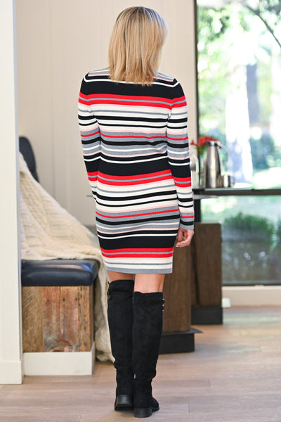 Better Than Bold Striped Dress - Multicolor women's vibrant colorful striped dress, Closet Candy Boutique 3