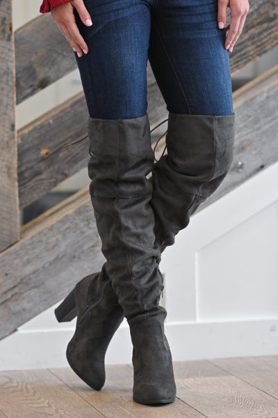 Follow My Lead Over-the-Knee Boots - Charcoal women's knee high suede boots, Closet Candy Boutique 2