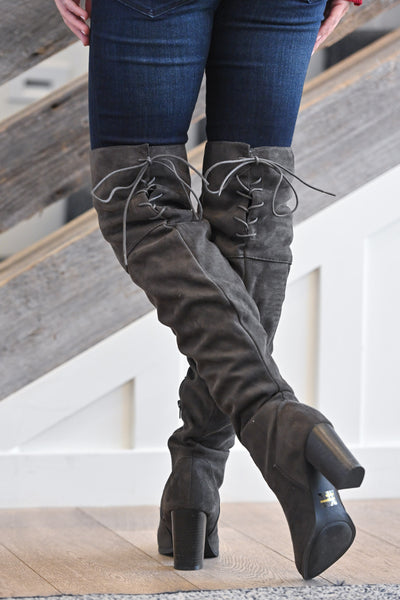 Follow My Lead Over-the-Knee Boots - Charcoal women's knee high suede boots, Closet Candy Boutique 3