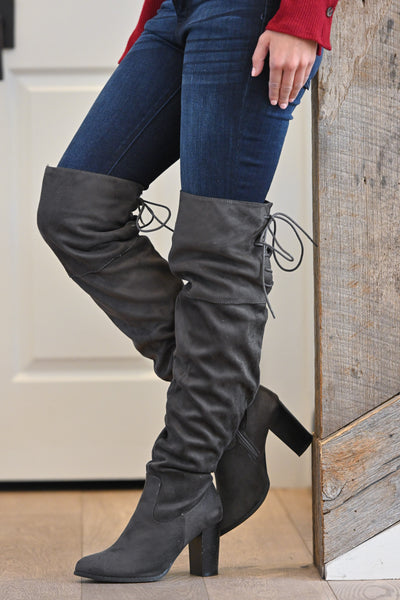 Follow My Lead Over-the-Knee Boots - Charcoal women's knee high suede boots, Closet Candy Boutique 1