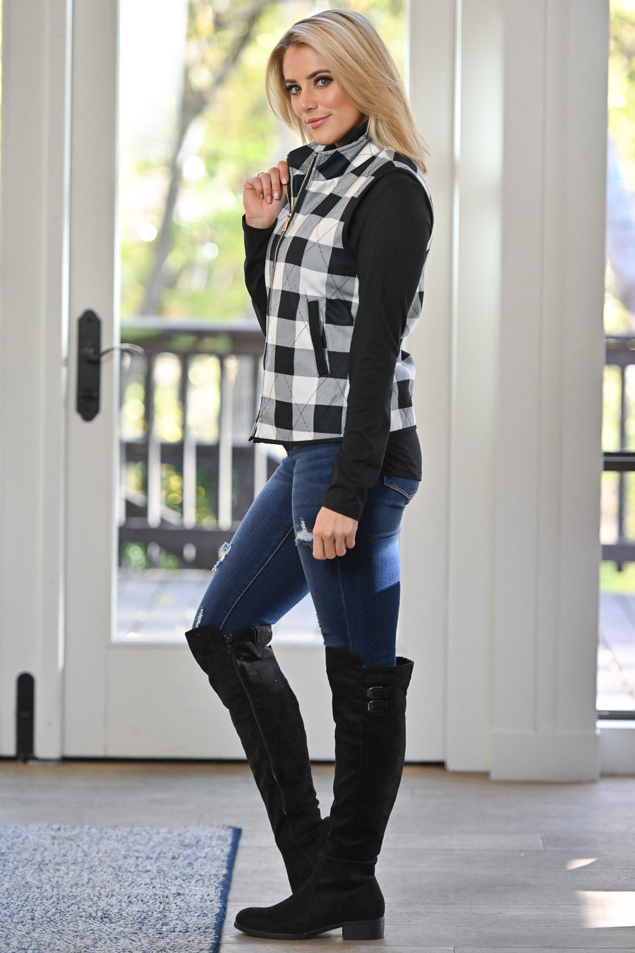 On The Right Path Plaid Vest - White & Black checkered plaid comfy zipper vest, closet candy boutique 1