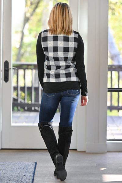 On The Right Path Plaid Vest - White & Black checkered plaid comfy zipper vest, closet candy boutique 4
