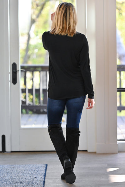 Give Me a Reason Turtleneck Top - Black basic women's long sleeve turtleneck top, Closet Candy Boutique 5