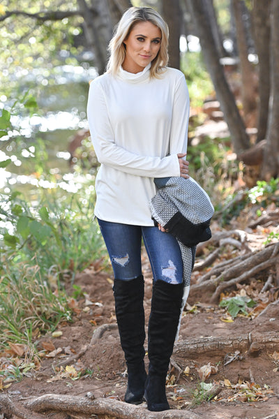 Give Me a Reason Turtleneck Top - White basic women's long sleeve turtleneck top, Closet Candy Boutique 2