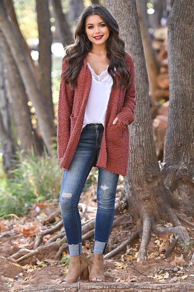 No Bad Days Knit Cardigan - Rust women's knit open sweater, closet candy boutique 7