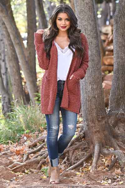 No Bad Days Knit Cardigan - Rust women's knit open sweater, closet candy boutique 4
