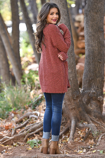 No Bad Days Knit Cardigan - Rust women's knit open sweater, closet candy boutique 2