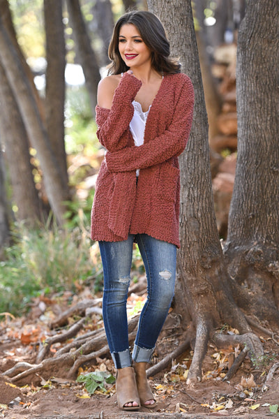 No Bad Days Knit Cardigan - Rust women's knit open sweater, closet candy boutique 1