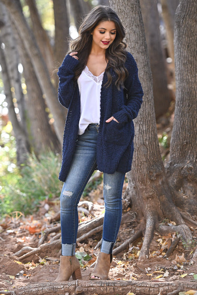 No Bad Days Knit Cardigan - Navy women's knit open sweater, closet candy boutique 3