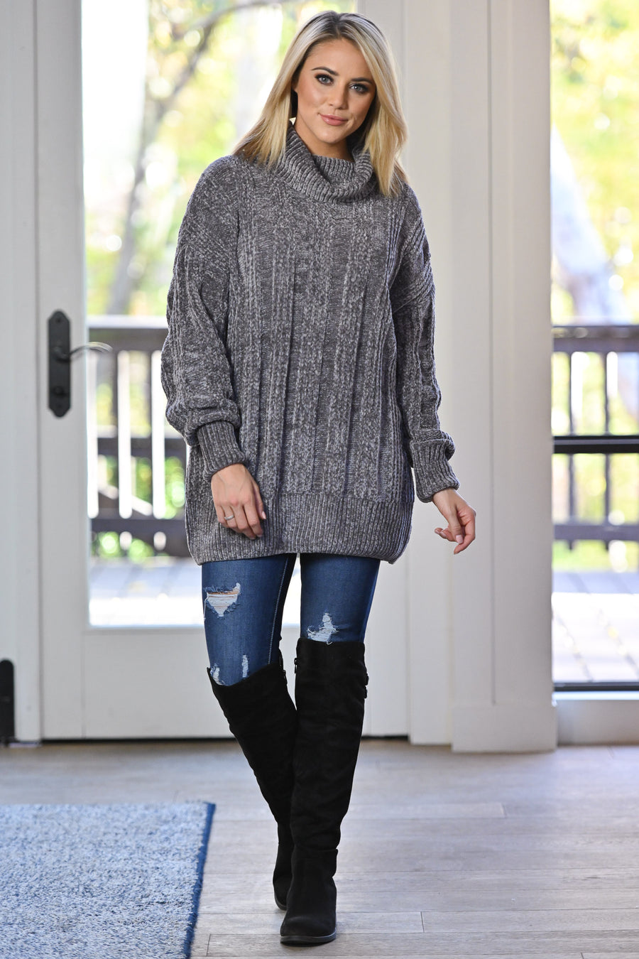 Feels Just Right Turtleneck Sweater - Grey women's oversized chunky pullover sweater, closet candy boutique 1