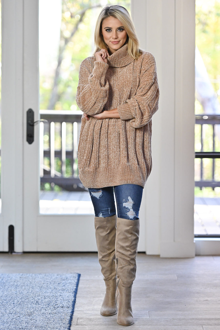 Feels Just Right Turtleneck Sweater - Latte women's oversized chunky pullover sweater, closet candy boutique 1