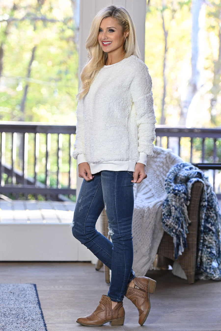 Winter Welcome Sweatshirt - Ivory women's soft & cozy sherpa pullover, Closet Candy Boutique 1