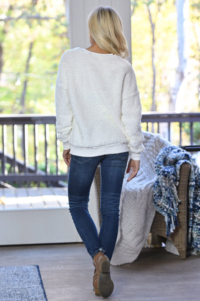 Winter Welcome Sweatshirt - Ivory women's soft & cozy sherpa pullover, Closet Candy Boutique 3