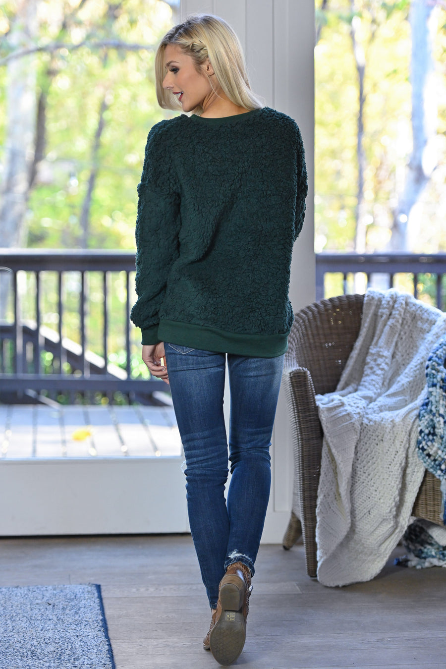 Winter Welcome Sweatshirt - Hunter Green women's soft & cozy sherpa pullover, Closet Candy Boutique 1