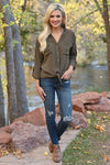 Fixed On You Tie Front Top - Olive women's button-up tie front top, Closet Candy Boutique 4