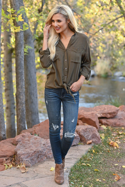 Fixed On You Tie Front Top - Olive women's button-up tie front top, Closet Candy Boutique 1