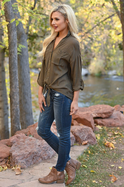 Fixed On You Tie Front Top - Olive women's button-up tie front top, Closet Candy Boutique 3