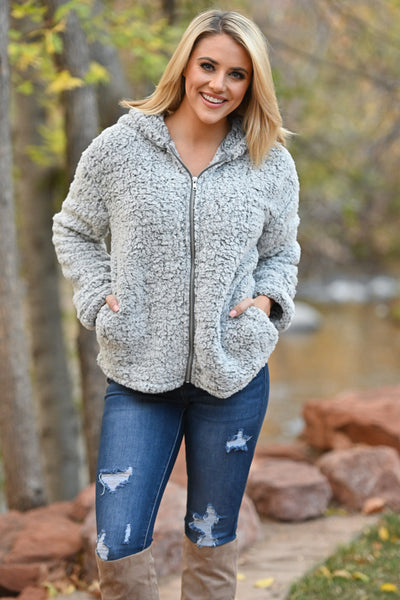 Got The Chills Hooded Jacket - Grey women's fuzzy sherpa zip-up hoodie, Closet Candy Boutique 2
