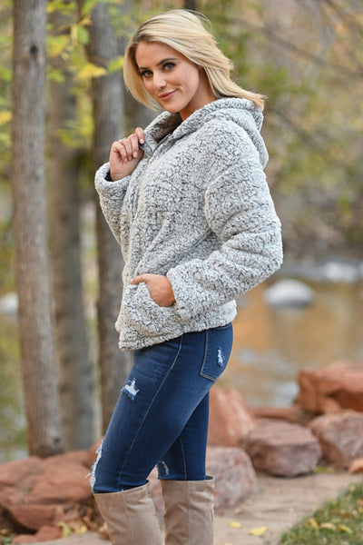 Got The Chills Hooded Jacket - Grey women's fuzzy sherpa zip-up hoodie, Closet Candy Boutique 1