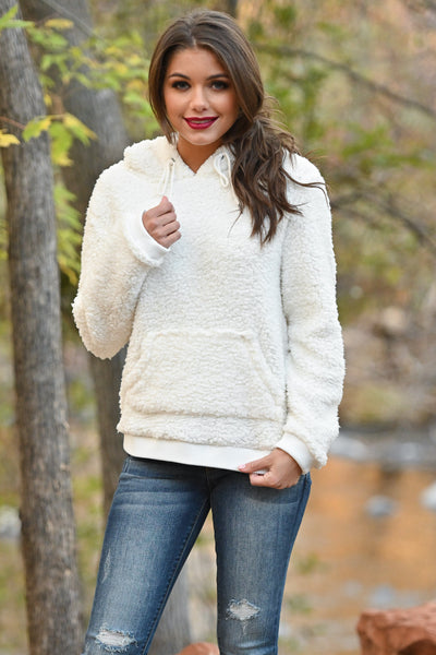 Say It Ain't Snow Hoodie - Ivory fuzzy soft sherpa pullover, closet candy boutique 3