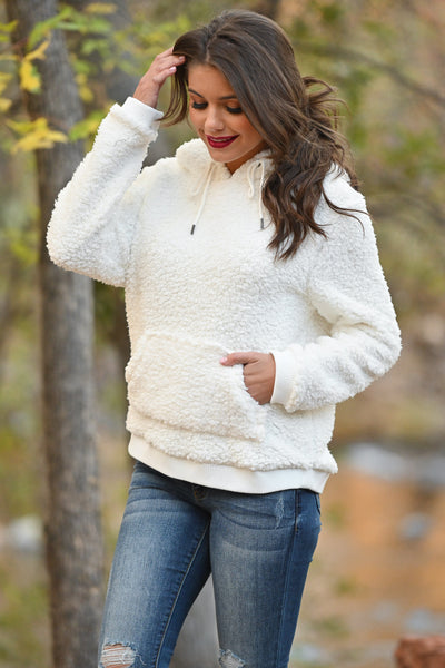 Say It Ain't Snow Hoodie - Ivory fuzzy soft sherpa pullover, closet candy boutique 1