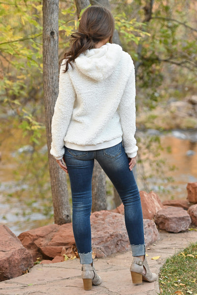 Say It Ain't Snow Hoodie - Ivory fuzzy soft sherpa pullover, closet candy boutique 4