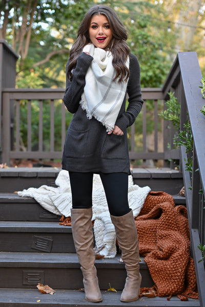 Fab In Plaid Blanket Scarf - Ivory & Grey plaid wrap scarf perfect for fall closet candy boutique 3