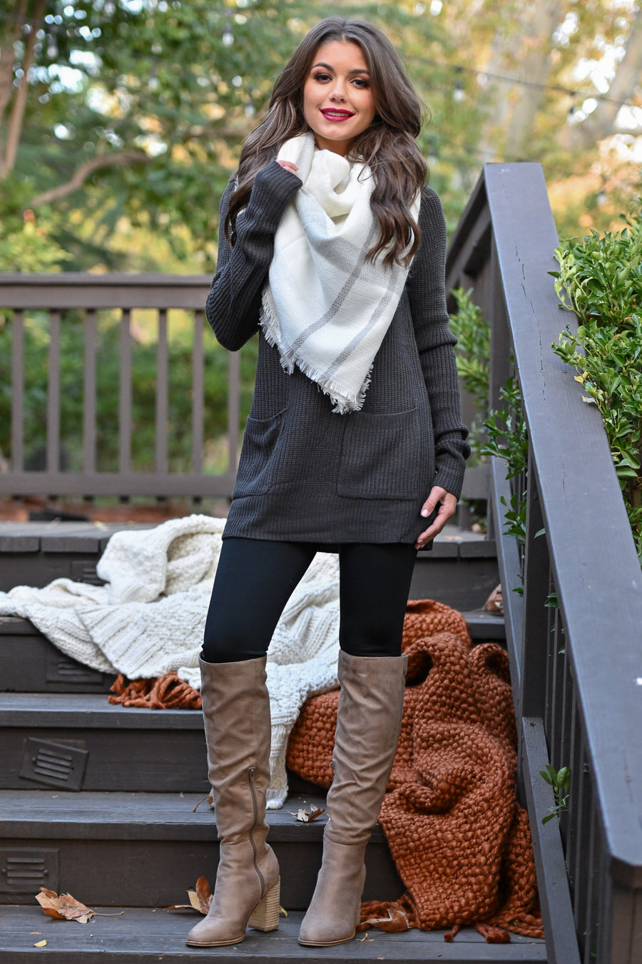 Fab In Plaid Blanket Scarf - Ivory & Grey plaid wrap scarf perfect for fall closet candy boutique 1