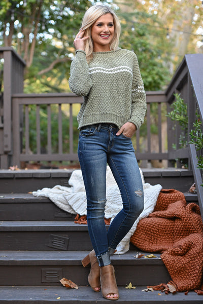 Call Me Yours Sweater - Sage women's chenille knit top with stripe accent, closet candy boutique 1