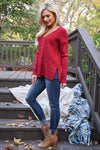 All I Want Is You Sweater - Cranberry women's cozy ribbed knit top, Closet Candy Boutique 2