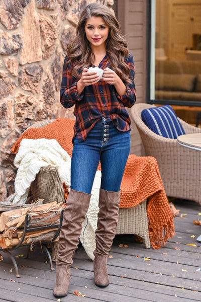 THREAD & SUPPLY Pass The Cocoa Plaid Top - Rust & navy women's button up long sleeve top, Closet Candy Boutique 1