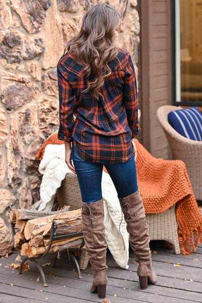 THREAD & SUPPLY Pass The Cocoa Plaid Top - Rust & navy women's button up long sleeve top, Closet Candy Boutique 3