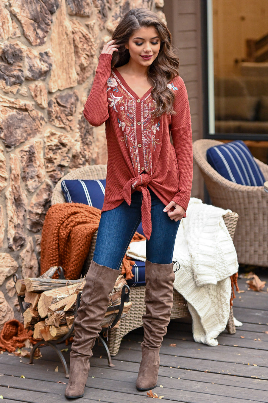 Womens Boutique Tops Get Them Shipped Free Closet Candy Basil Top Rust Autumn Harvest Embroidered Waffle Knit Tie Front