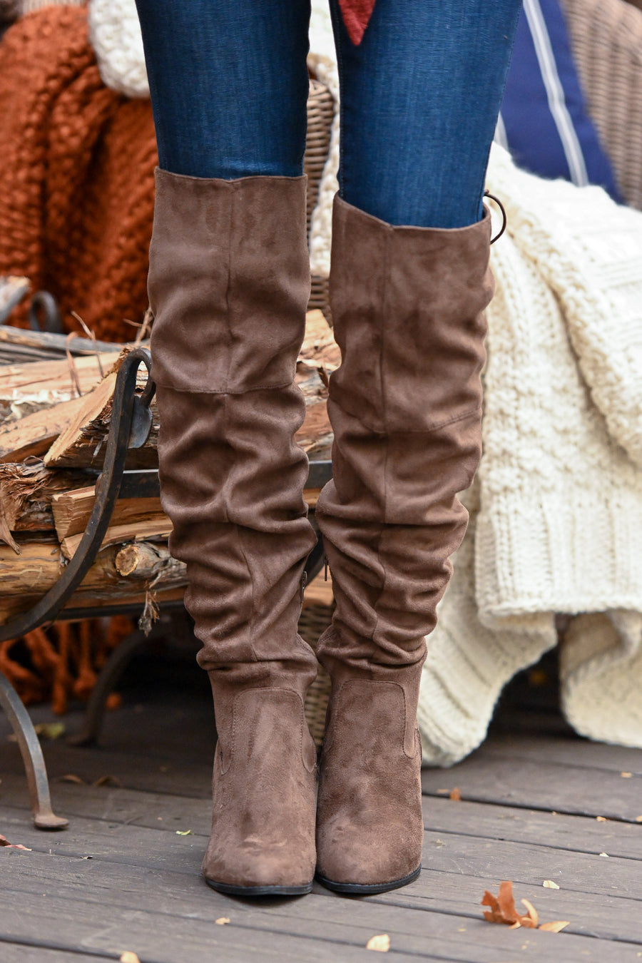 Follow My Lead Over-the-Knee Boots - Chocolate knee high suede boots, Closet Candy Boutique 1