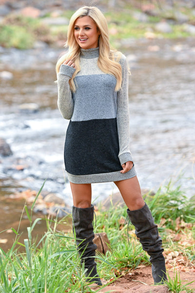 Follow My Lead Over-the-Knee Boots - Charcoal women's knee high suede boots, Closet Candy Boutique 5